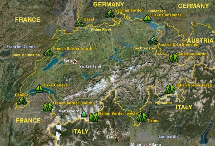 Map Of France Near Geneva.Swiss Border Map Itinerary